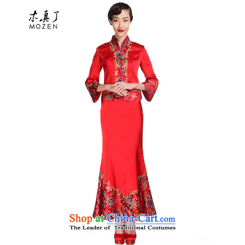 Wooden spring of 2015 really new Chinese dress in waist dresses crowsfoot embroidery wedding dresses package mail?00968 05 red?M