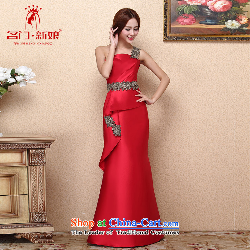 A聽new bride 2015 Red Dress stylish bows dress shoulder crowsfoot video thin dress 661 M