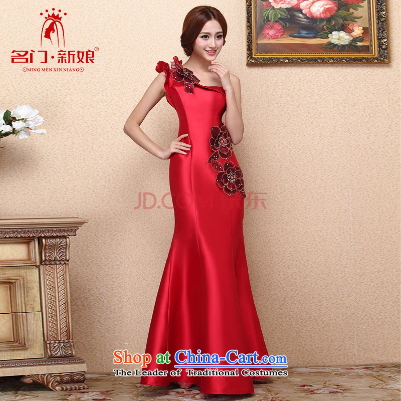Name the?new 2015 bride door stylish red bows dress classic one-shoulder dress crowsfoot dress 663 L
