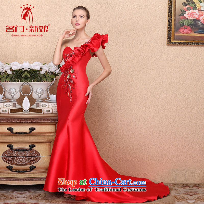 A�new bride 2015 Red bows dress crowsfoot dress retro embroidery Chinese Dress 670 S
