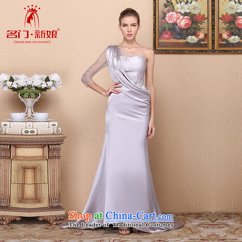 A Bride?2015 stylish and elegant dress shoulder tail dress banquet evening dresses drilling 696 S