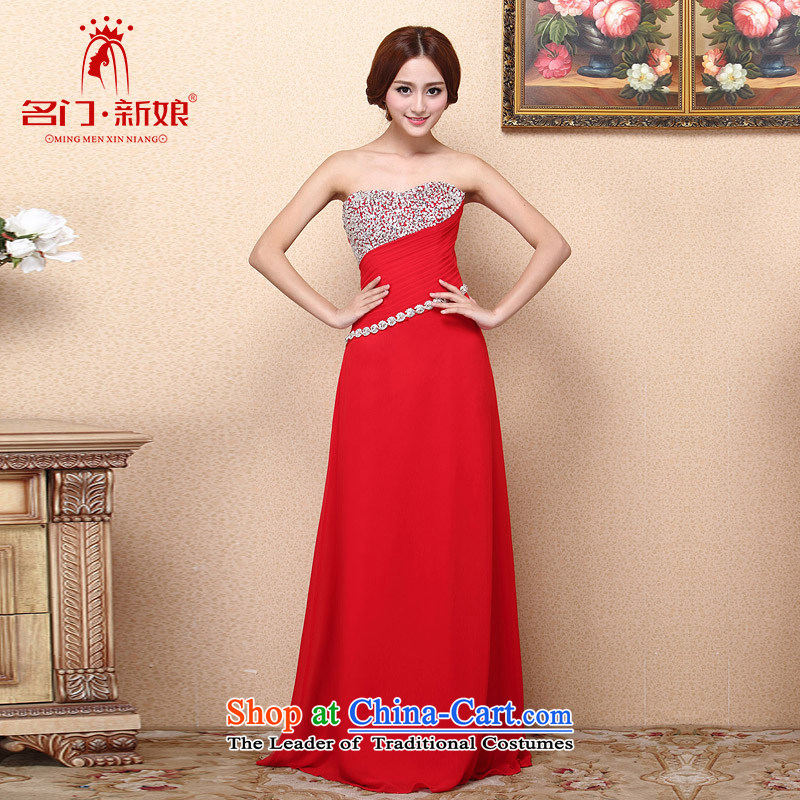 A聽new bride 2015 Red Dress bows dress long gown luxury drilling 684 M
