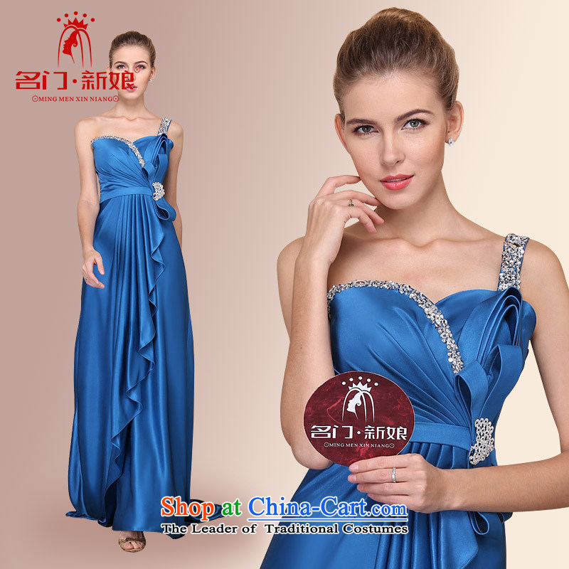 A?new bride bride 2015 dress small trailing dress elegant blue dress?705 S