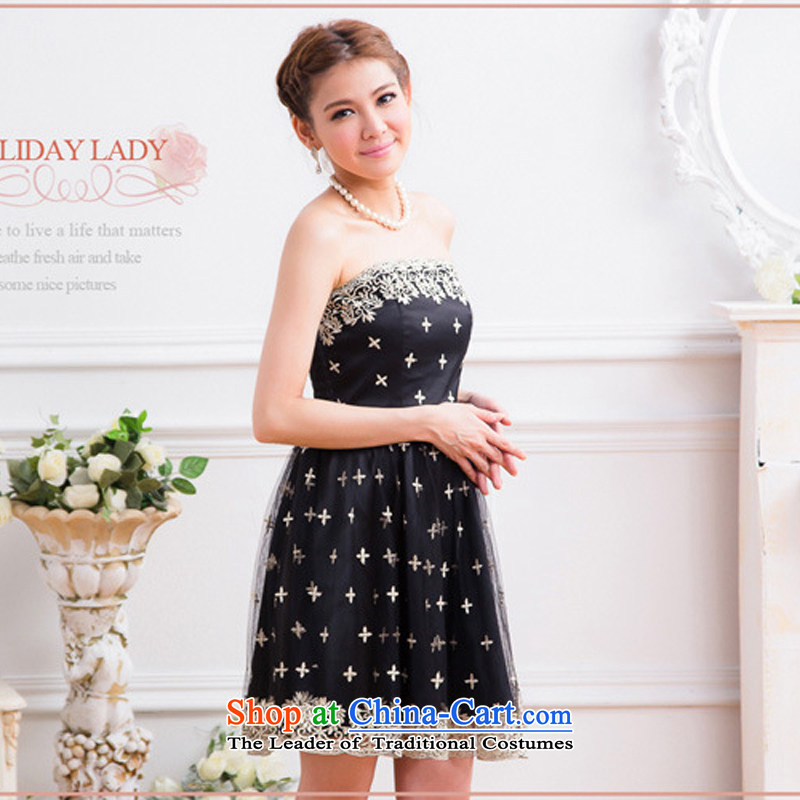 The end of the light (MO) Korean small QIAN dress aristocratic coagulates computer embroidery wrapped chest gauze small banquet Dress Short of dress?2313?Black?L