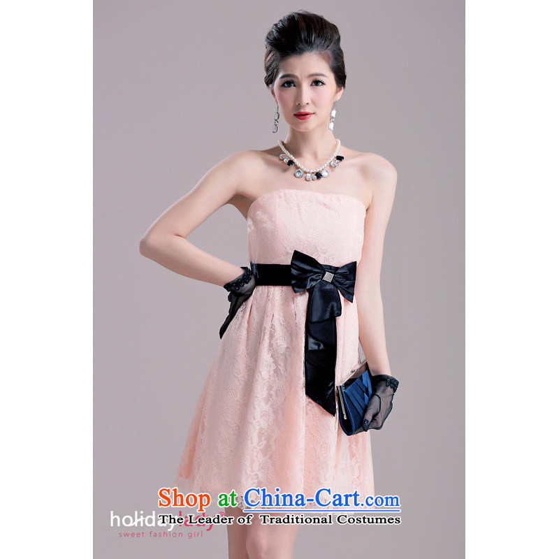 The end of the light (MO) 2014, QIAN female Korean lace stitching bow ties suits skirts small dress bridesmaid 2,227 pink?L