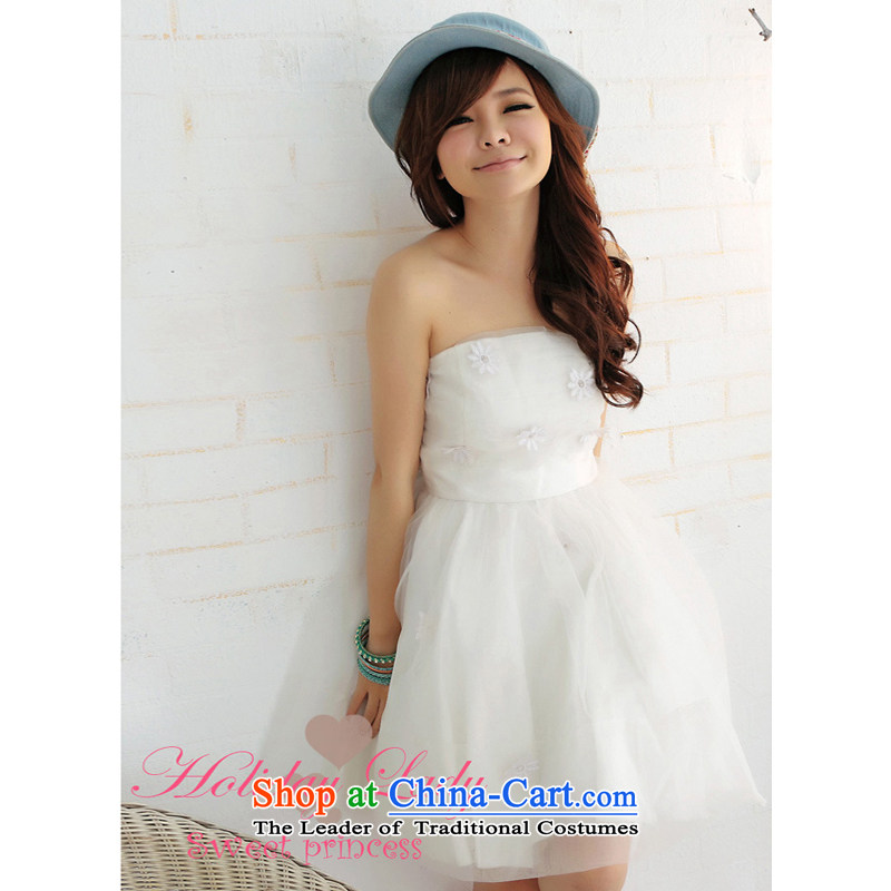 The end of the light (MO) QIAN banquet dress sweet princess embroidery sunflower bon bon candle dress bridesmaid sister replace short) 2260 white are code