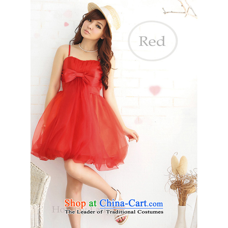 The end of the light (QIAN MO) viewed sweet princess stylish party bon bon small dress skirt bridesmaid skirt�2261�red are code