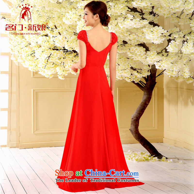 A Bride dress marriage bows long service 2015 bridesmaid dress evening dresses 324 RED M