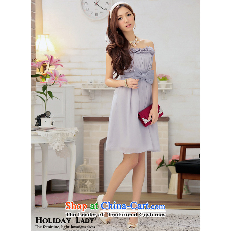 The end of the light (QIAN MO) Breast Stereo Bow Tie elegant short, party appointments reception dress skirt 2296 new color gray?XL