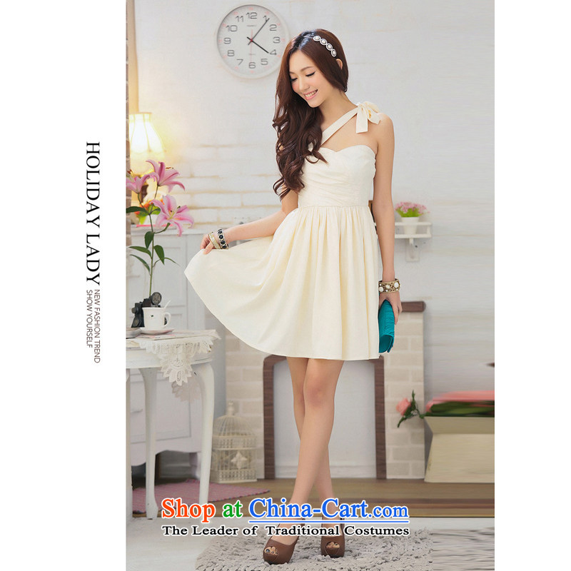 The end of the light (MO) Korean QIAN arc creases breast princess bon bon skirt party small dress skirt the skirt�will concentrate champagne 2308