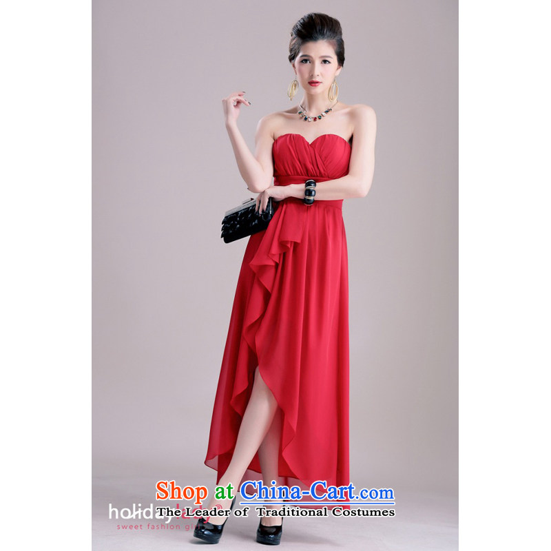 The end of the light (MO) QIAN noble chest draw wrinkle the forklift truck Sau San long gown dinner small dresses-2383 red XL