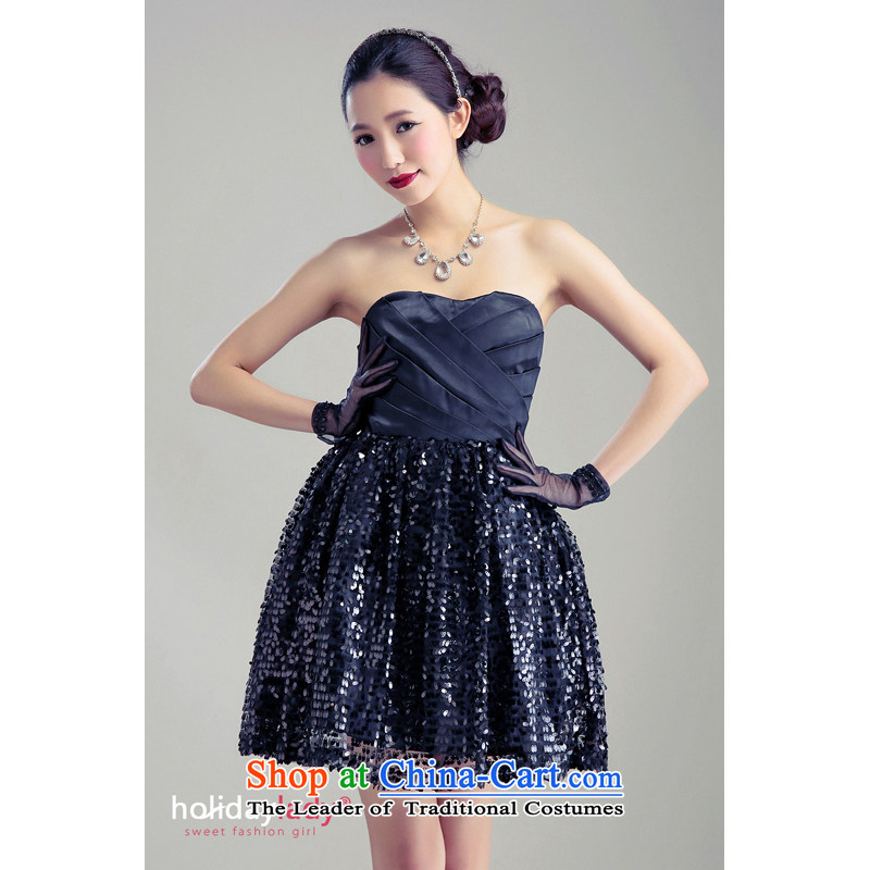 The end of the light (MO) magnificent princess QIAN ultra-bright-flash embroidered bon bon princess skirt dress dress wedding dress bridesmaid 1019 Black Belt are code mismatch