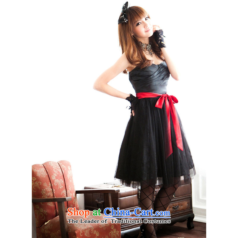 The end of the light (MO) 2014 Summer QIAN, wipe the chest dresses short of small dress bridesmaid bon bon skirt gauze bow tie large 1021 Black are code