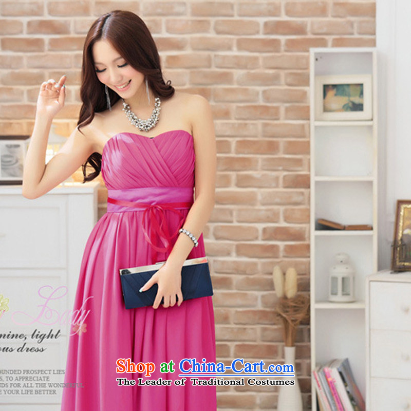 The end of the light (MO) sweet chest QIAN pinch wrapped chest dress long skirt dress evening dresses�2292�increase in new color code are red Watermelon