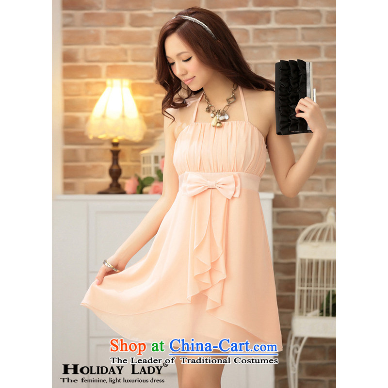The end of the light (MO) sweet gorgeous QIAN aesthetic creases around also tie twine bow knot small dress short of foreign States?2302?pink?L