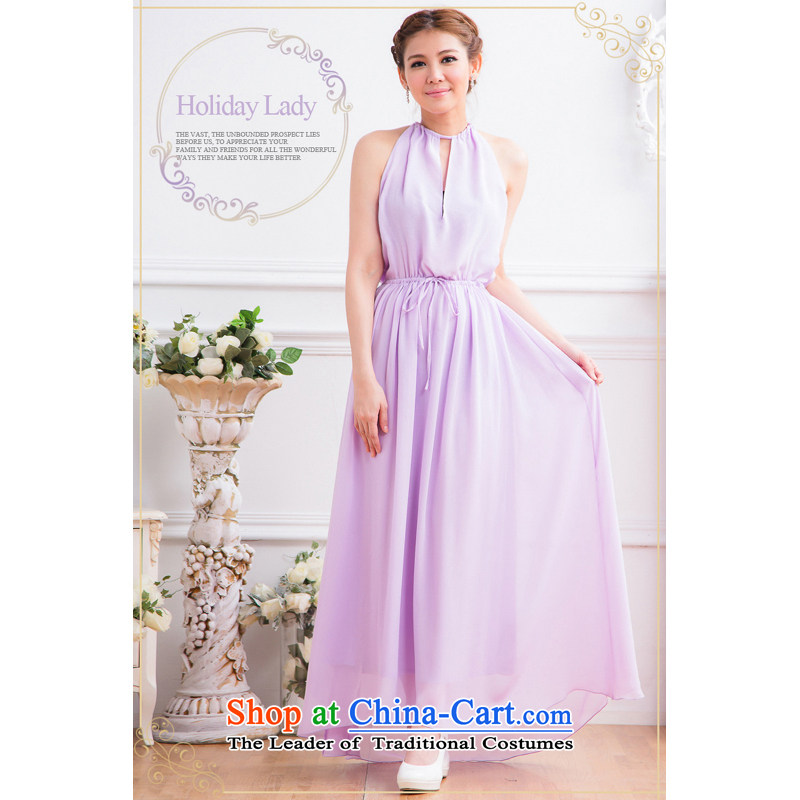 The end of the light (MO) Bride color QIAN toasting champagne evening dresses long bare shoulders Sau San banquet dress bridesmaid dress?2,332 Cambodians?purple?L