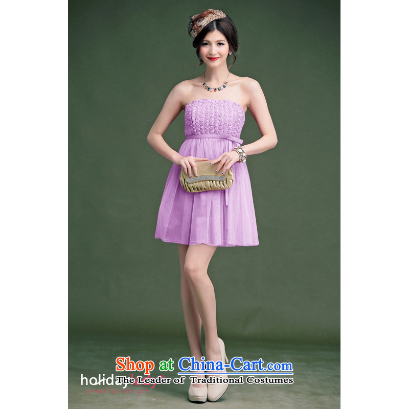The end of the light (MO) 2014, QIAN elegant Little Rose Silk flower buds Korean short, banquet dress skirt bridesmaid small dress�code are Violet 236