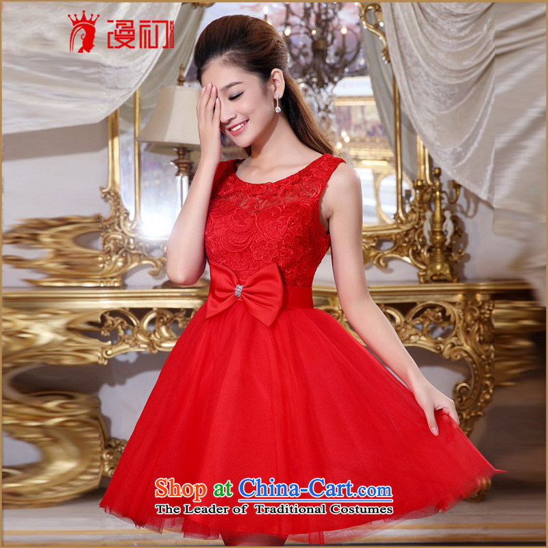 In the early 2015 new man Wedding Dress Short of stylish bridesmaid small dress Korean Korean bridal dresses bows red double-shoulder type?M