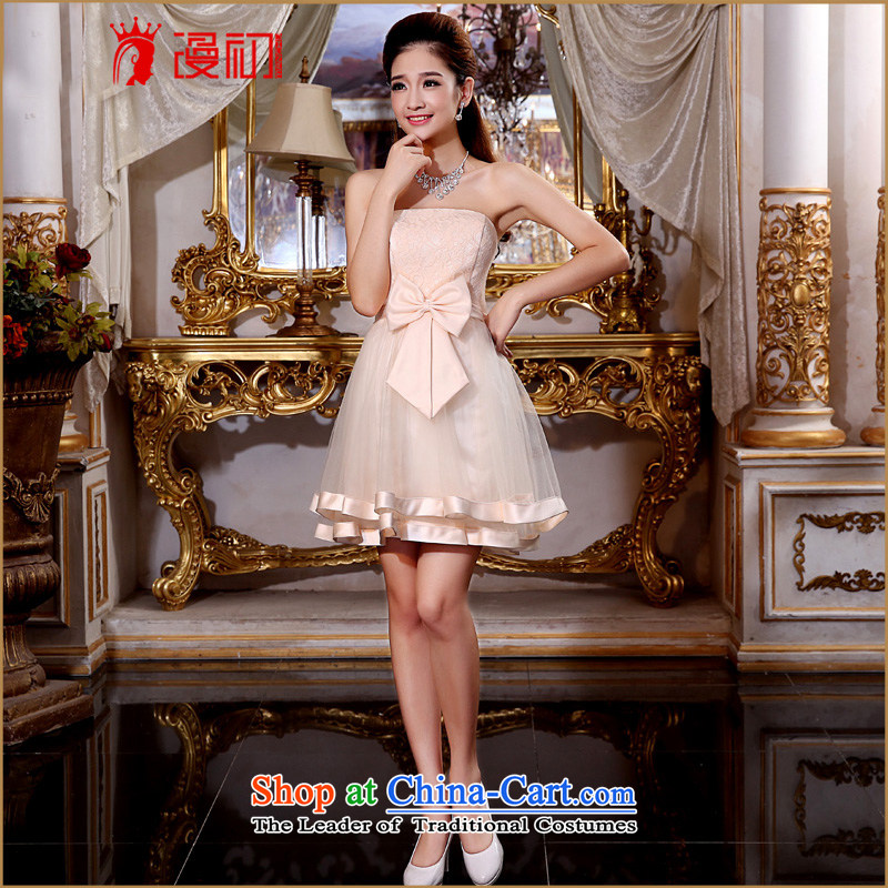In the early 2015 new man short of bridesmaid dress bride bows to Sau San dress evening dresses and chest new bridesmaid serving champagne color made plus $30 does not support Return