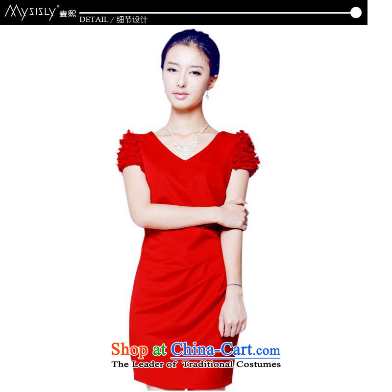 Mak-hee of the new Marriage 2014 Red Dress Short, bows to Sau San Korean wedding dress bride XL/170 red