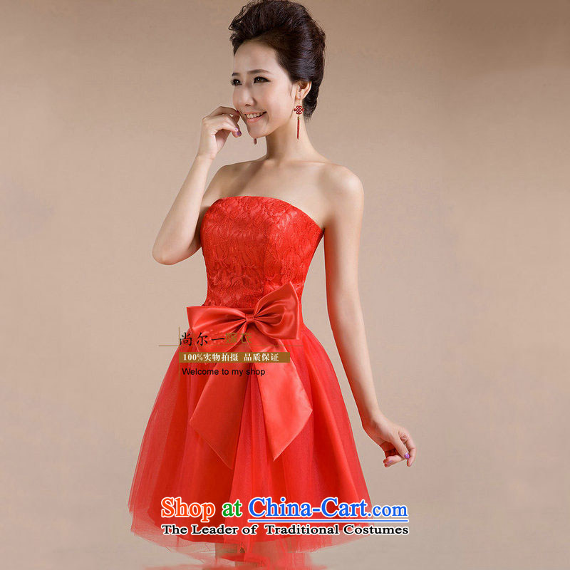 Naoji a 2014 new bridesmaid short, wedding dresses wedding dress wiping the chest stage small dress bon bon dresses XS123 RED M