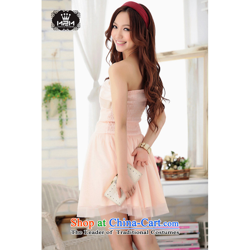 The end of the light (MO) two spelling QIAN color gauze wiping the chest princess small dress ocean skirt dresses 6232 will Pink