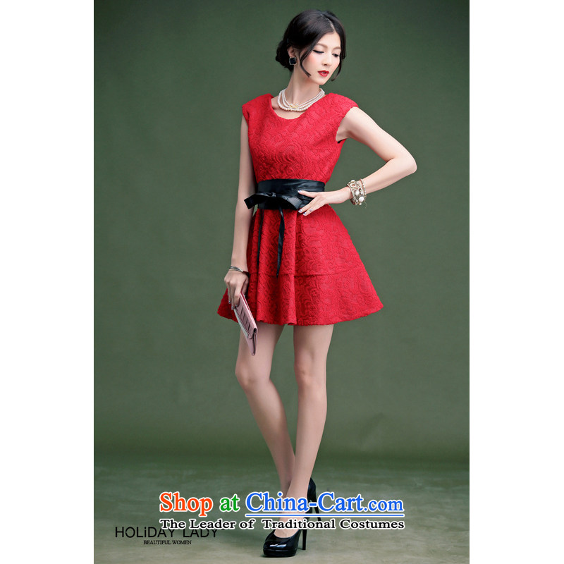 The end of the light (QIAN MO) spring and summer elegant lace knocked color belt back to Sau San door dresses bows to dress 800 red S