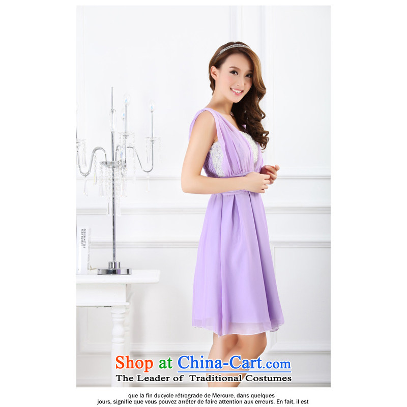 The end of the light (MO) 2013 new QIAN stereo stitching Korean bridesmaid long small dress gliding chiffon sister vest skirt�9013 Short purple are code