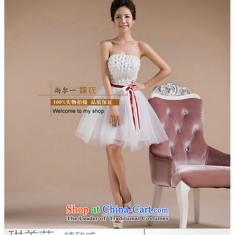 Yet, a short of bridesmaid dress bridesmaid sister mission Bow Ties With chest small dress skirt?2014 new concert princess skirt XS147 white?L