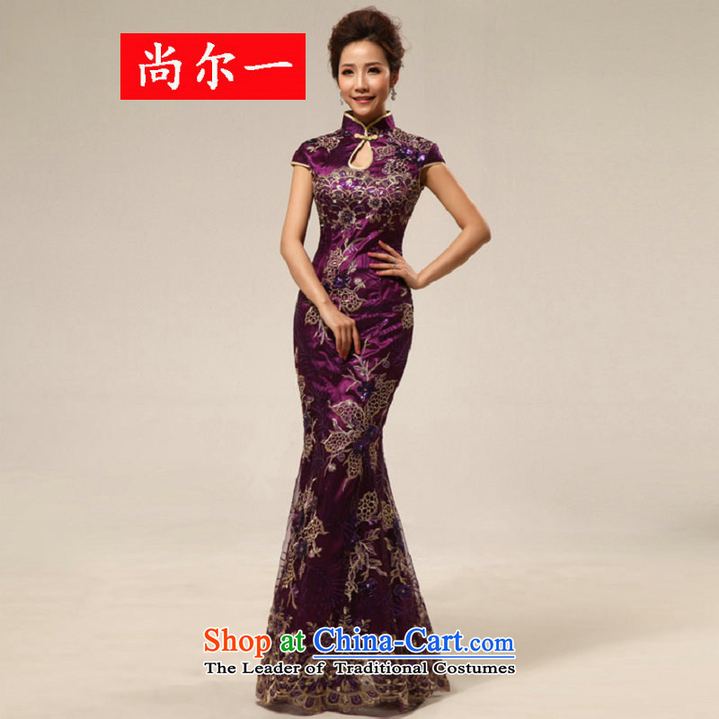 Naoji a retro feel welcome to etiquette marriage cheongsam dress XS7124 PURPLE�XXL