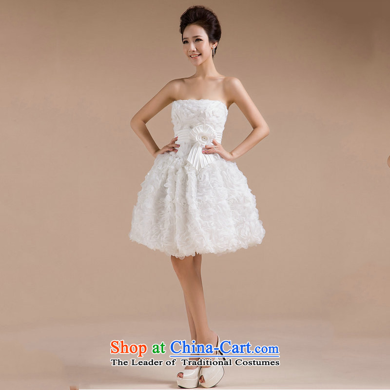 Yet, a Korean bridesmaid dress bridesmaid skirt small dress evening dress short annual marriage, short skirts XS565 white?L