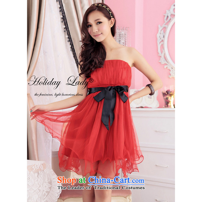 The end of the light (MO) layer Internet QIAN end of chest straps yarn bon bon dress dress small dress�2232�Red�L