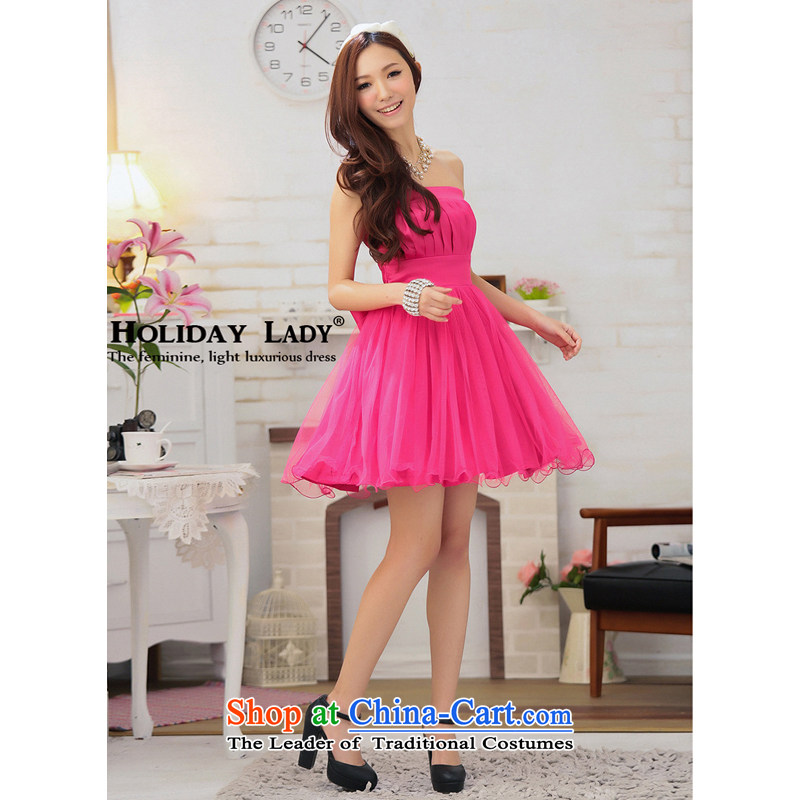 The end of the light (MO) Top Loin QIAN creases breast Princess-bon bon petticoats party dress skirt 2304 watermelon RED?M