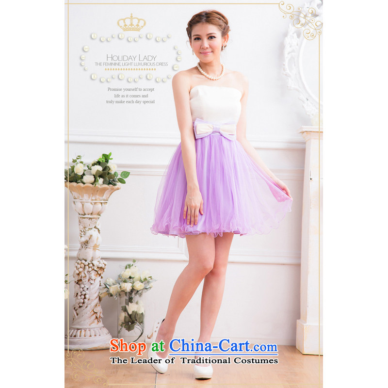 The end of the light (MO) Korean small QIAN dress sweet princess wrapped chest banquet bow tie gauze bon bon skirt dresses dress code 2311 are Violet
