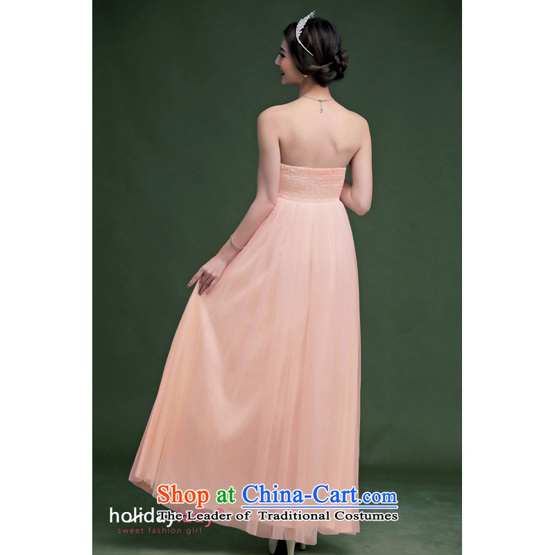 The end of the light (MO) QIAN Little Rose Bud elegant Silk flower Korean long gown skirt bridesmaid banquet small dress 2365 pink�XL