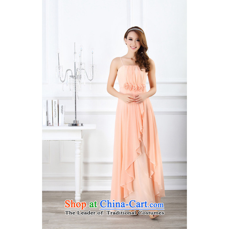 The end of the light (MO) WOMEN'S QIAN manually roses chiffon slips long gown bridesmaid skirt small dresses�900�pink�XL