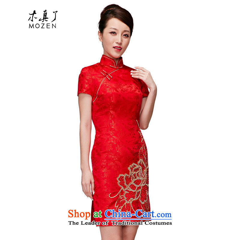 Wooden spring and summer of 2015 is really the new bride embroidered red short of Qipao wedding dress female package mail 01238 05 red�XL