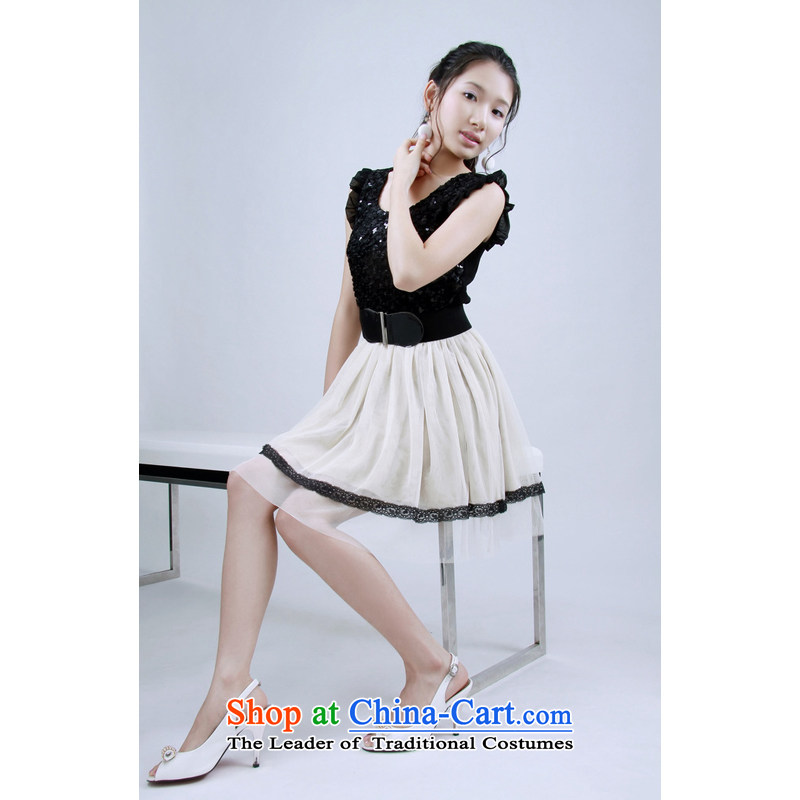 The end of the light (MO) Korean QIAN with spell checker on lap-dresses evening dresses with white-collar skirt waistband small dress�368�apricot are code