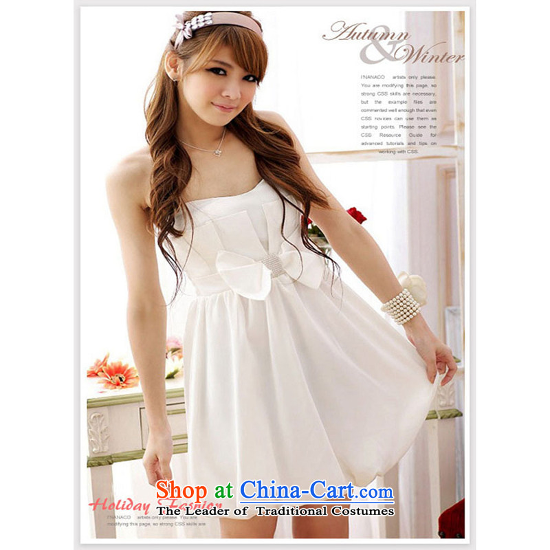 The end of the light _MO_ QIAN Bow Tie lanterns skirt bridesmaid dinner dress wedding dresses evening dress 985 white are code