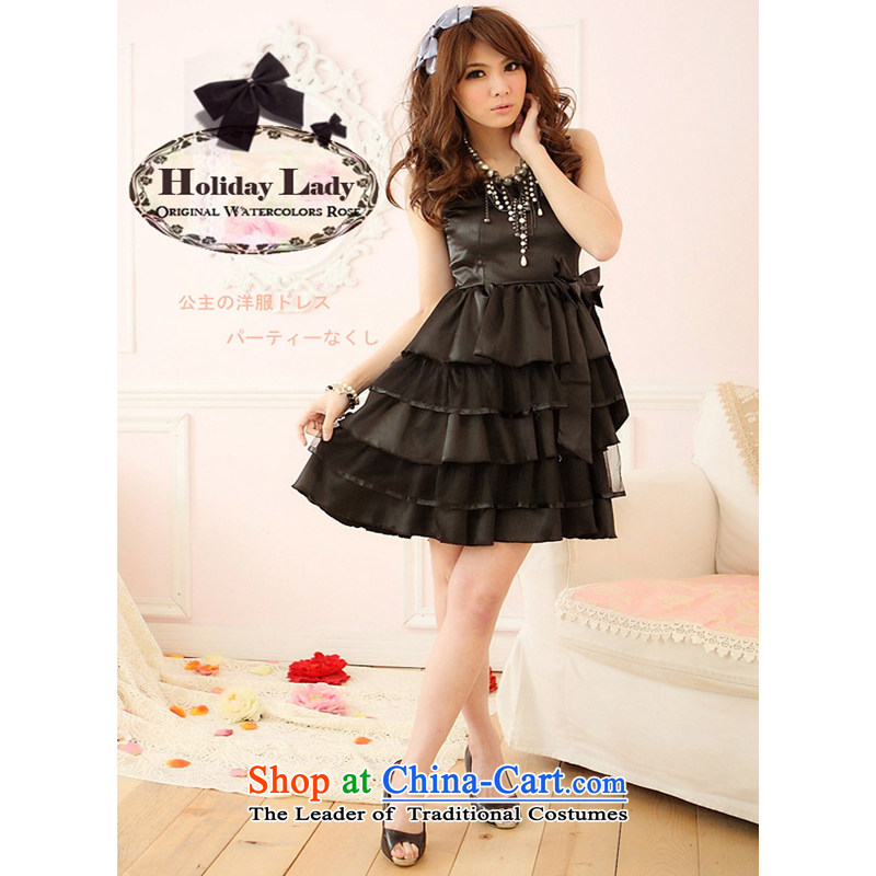 The end of the light (MO) 2013 QIAN summer, layers of bow tie strap small dress dress dresses bridesmaid bride replacing 2205 Black?L