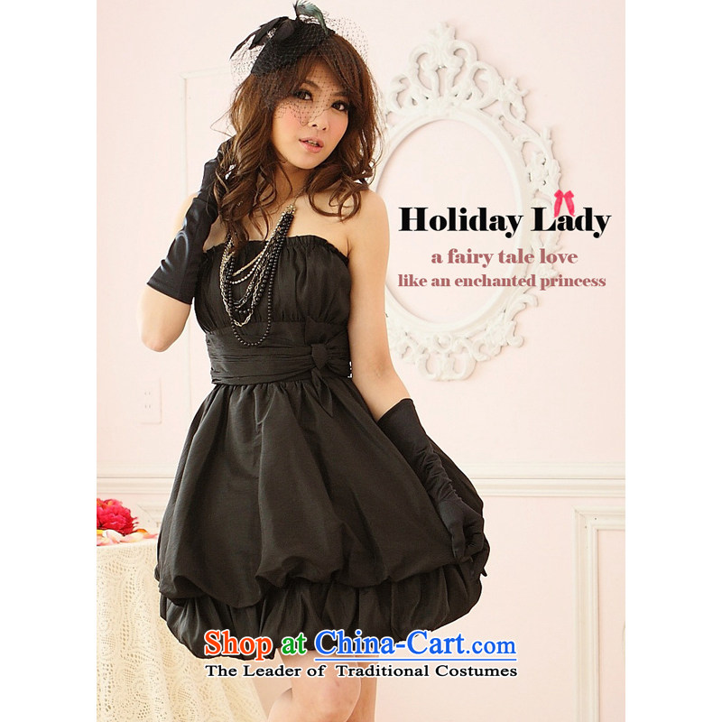 The end of the light _QIAN MO_ Moderator dress dinner with evening dress Korean Princess bon bon dress small dress 2211 Black?XL