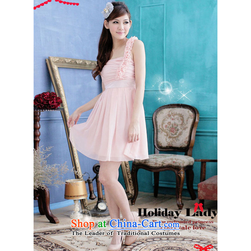 The end of the light (MO) Korean QIAN female Beveled Shoulder shoulder billowy flounces sweet little dress dress bridesmaids 2251 apricot�XL