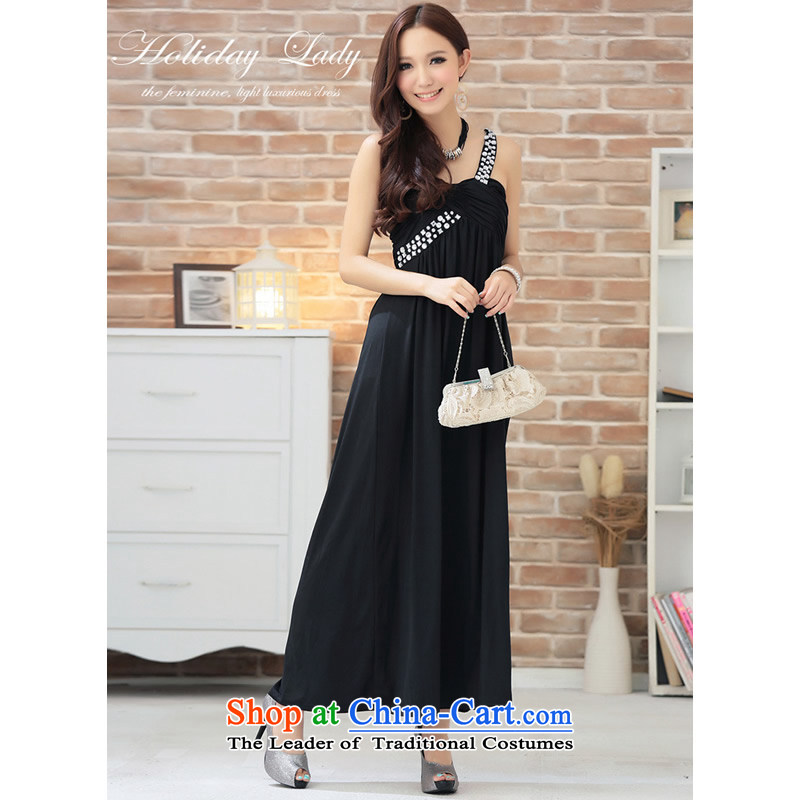 The end of the light (MO) QIAN goddesses shoulder drill length of water under the auspices of dress performances bridesmaid skirt XL?Black 2811?XL