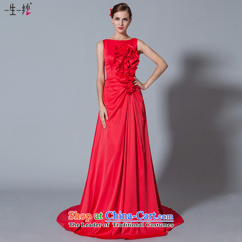 A lifetime of wedding dresses 2015 New Thoraco Plate flower small trailing bridal dresses bows services 30250903 Red Red?165/90A 30 days pre-sale