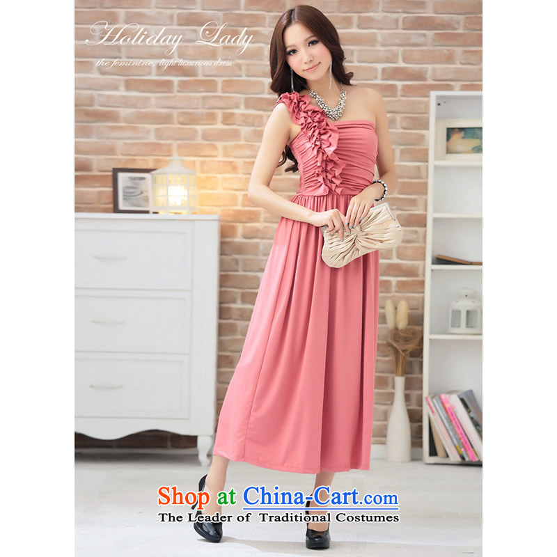 The end of the light (MO) QIAN goddesses stereo shoulder in spend long skirt small dress evening dresses XL?2810?watermelon red?XL