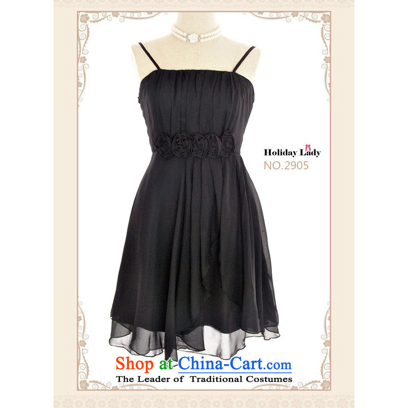 The end of the light (MO) Korean QIAN bridesmaid small dress dresses with length of 2905, Black will long