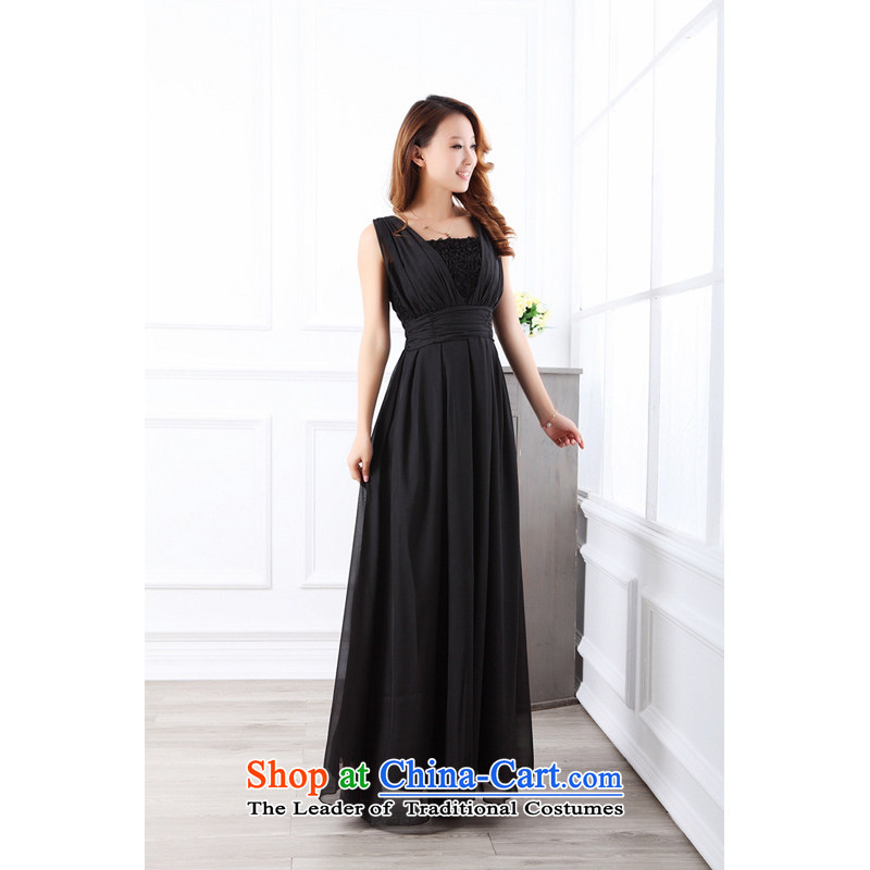 The end of the light (MO) 2014 QIAN women's irrepressible V-Neck flowers of the waist vest chiffon bridesmaid sister small dress dresses�9013 long black are code