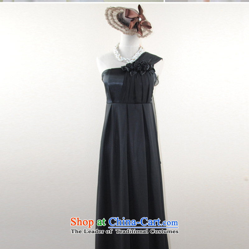 The end of the light (QIAN M Beveled Shoulder chiffon dresses bridesmaid service banquet hosted services bows wholesale agent 0877holiday long black�M