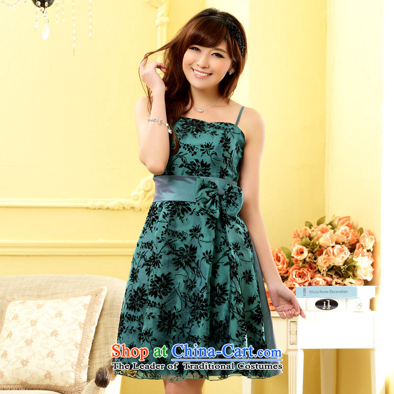 The end of the light (MO) QIAN flocking evening dresses stylish chest at the end of Sau San sister Princess small dress dresses?XXXL green