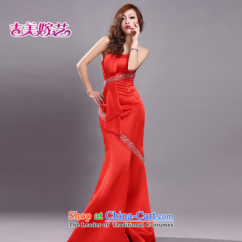 Wedding dress Kyrgyz-american married new anointed arts 2015 Chest Korean Red LS510 bridal dresses Sau San crowsfoot red�XS